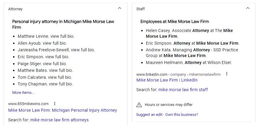 Personeel en Advocaten gespot in Google Knowledge Panel